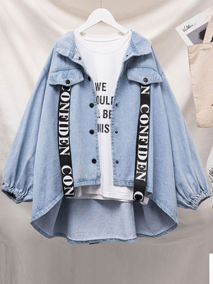 Picture of Women's Denim Coat Long Sleeve Words Fashion Outerwear - Size: XL