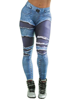 Picture of BINSHADUO Women's Sports Pants Skinny High Waist Color Block Fitness Pants - Size: XL