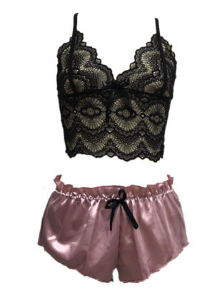 صورة Women's Nightwear Set Black Lace Camisole Shorts Glamorous Sexy Pajamas Set - Size: L