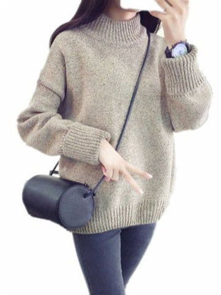 Picture of Women's Pullover Long Sleeve Turtle Neck Solid Color Casual Knitwear - Size: Free