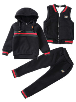 Picture of Toddler Boys Kid's Clothes 3 Pcs Set Colorblock Vest Jacket&Hoodie&Pants Casual Set - Size: Reference Height:130cm