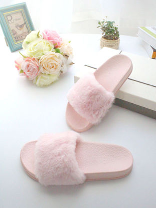 Picture of One Pair Women's Slippers Fluffy Design Solid Color Simple Style Platform Indoor Slippers - Size: 38