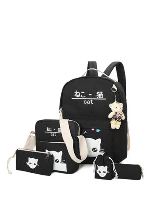 Picture of 5Pcs Kid's Backpack Set Cute Cat Pattern Lovely All Match School Bag Kit - Size: One Size