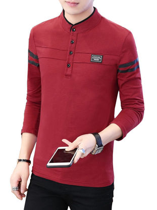 Picture of Men's Polo Shirt Stand Collar Long Sleeve Fashion Mens Top - Size: XL