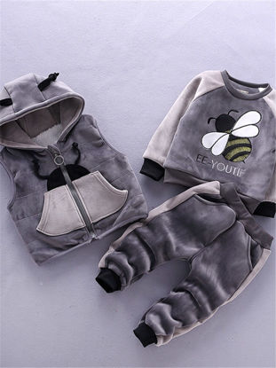 Picture of Toddlers Baby's 3 Pcs Set Color Block Bee Pattern Comfy Hooded Vest Long Sleeve Top and Pants Set - Size: 100cm