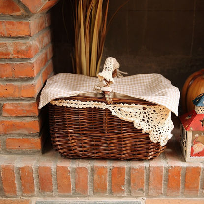 Picture of Rattan Woven Market Basket With Handle And Fabric Cover Storage Basket Home Decor - Size: One Size