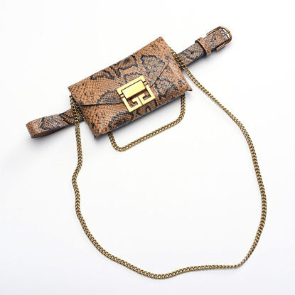 Picture of Women's Jeans Belt Retro Contrast Color Chain Decor Stylish Accessory With Bag - Size: One Size