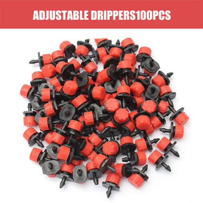 Picture of 100 Pieces Watering Adjustable Micro Drip Irrigation Watering Anti-Clogging Emitter Dripper Red Garden Supplies - Size: One Size