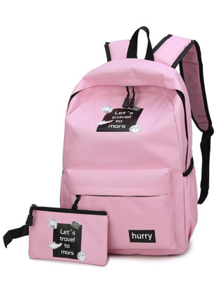 Picture of 2 Pcs Women's Backpack Set Letter Pattern Casual Style School Bag Set - Size: Free