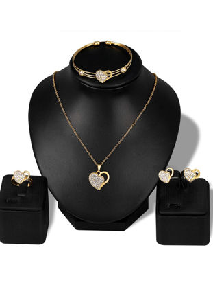 Picture of Lucky Doll Women's Whole Set Heart Shape Hollow Out Rhinestone Accessories Set - Size: One Size