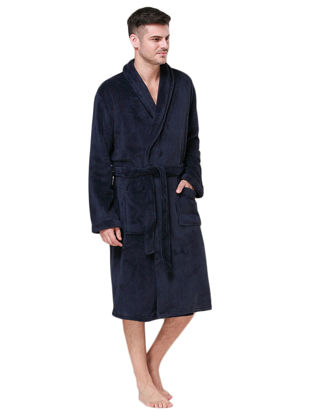 Picture of Men's Robe Thicken Cozy Warm Loose Fashion Solid Color Cozy Warm Sleep Robe - Size:XXL