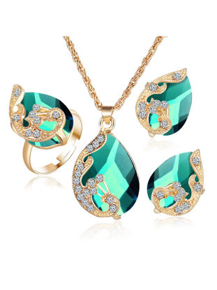 Picture of 3 Pcs Women's Jewelry Set Crystal Pendant Drop Pattern Exquisite Accessories