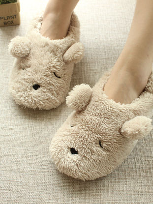 Picture of Women's Slippers Cartoon Lovely Bear Design Soft Closed Heels Floor Slippers - Size:38-39