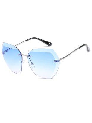 Picture of Women's Sunglasses Rimless Cutting Crystal Alloy Clear Gradient Accessory - Size:One Size