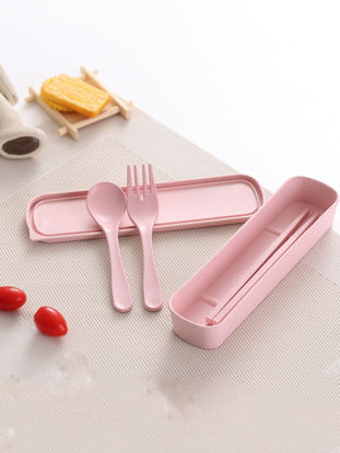 Picture of 3 Pcs Travel Dining Tools Set Creative Solid Portable Chopsticks Fork Spoon Set