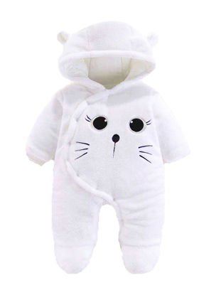 Picture of Baby Baby's Thicken Jumpsuit Cartoon Animal Warm Hooded Romper - Size:66cm