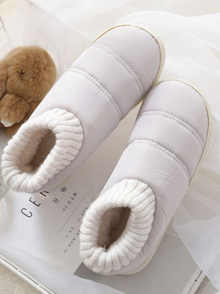 Picture of Home Slippers Solid Color Antiskid Warm Breathable Household Slippers Couple Slippers - Size:37-38