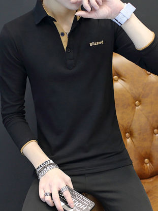 Picture of Men's Plus Size Polo Shirt Fashion Long Sleeve All Match Breathable Top - Size:XL