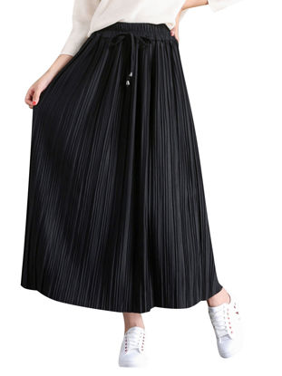 Picture of Women's Skirt High Waist Solid Color Loose Pleated Maxi Long Skirt - Size:Free
