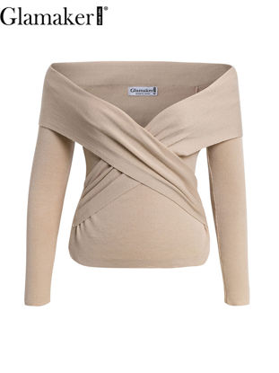 Picture of Glamaker Women's Pullover Solid Color Ruching V Neck Skinny Knitwear - Size:S