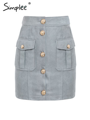 Picture of Simplee Women's Skirt Solid Color Buttons Pockets Decor Mini Skirt - Size:L