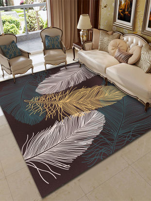 Picture of Home Floor Mat Modern Simple Feathers Pattern Rectangle Soft Mat - Size:180*280(W*L)cm