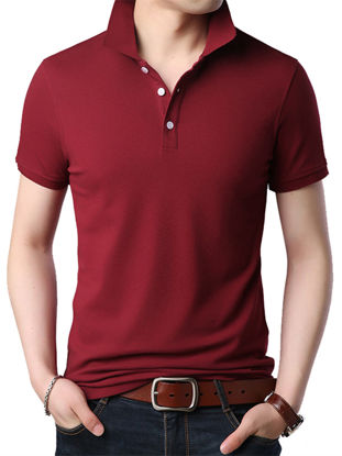 Picture of Men's Polo Shirt Turn Down Collar Short Sleeve Solid Color Top - Size:XL