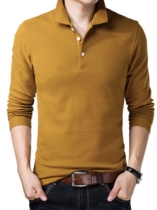 Picture of Men's Polo Shirt Turn Down Collar Solid Color Long Sleeve Comfy Top - Size:XXL