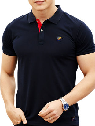 Picture of Men's Polo Shirt Casual Turn Down Collar Short Sleeve Top - Size:XL