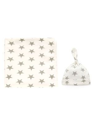 Picture of Baby's 2 Pcs Set Simple Print Pattern Comfy Breathable Swaddling Hat Set - Size:One Size