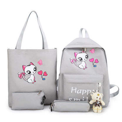Picture of 4Pcs Kid's Backpack Set Cartoon Cat Letter Printed Back Bag Set - Size:One Size