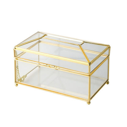 Picture of 1Pc Glass Tissue Box Simple Living Room Household Tissue Storage Box Luxury Napkin Holder Box - Size:One Size