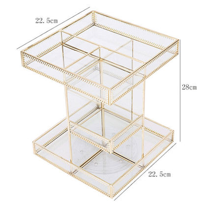 Picture of Rotary Transparent Mirror Multi-layer Cosmetics Receiving Box - Size:One Size