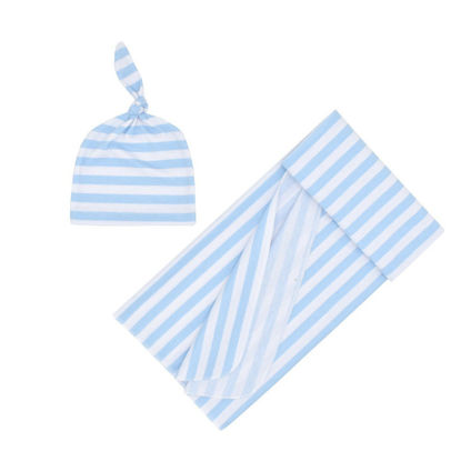 Picture of Baby's 2Pcs Set Striped Swaddle Wrap Striped Cap Photography Props Set - Size:0-3M