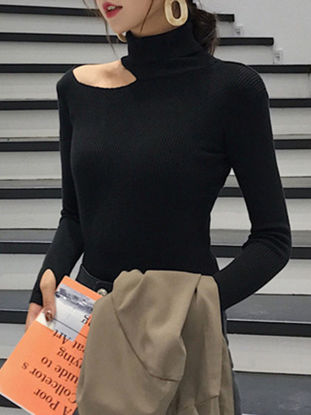Picture of Women's Sweater Turtle Neck Long Sleeve Solid Color Sweater - Size:Free