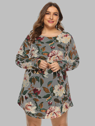 Picture of Women's Plus Size Blouse O Neck Long Sleeve Floral Print Top - Size:5XL