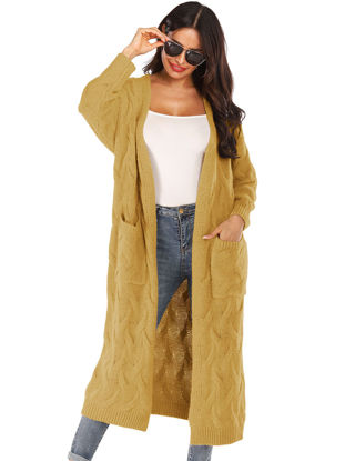 Picture of Women's Cardigan Long Sleeve Solid Color Pocket Knitwear - Size:XXL