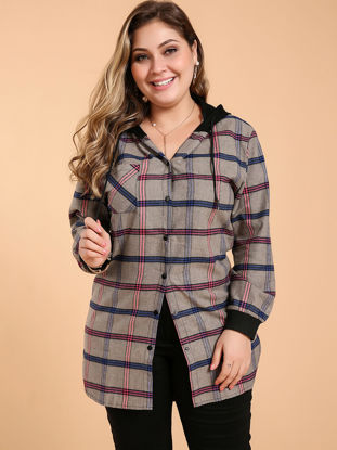 Picture of Women's Plus Size Blouse Hooded Long Sleeve Fashion Patchwork Top - Size:6XL