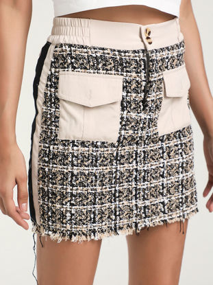 Picture of Women's Bodycon Skirt Mid Waist Houndstooth Patchwork Pocket Skirt - Size:L