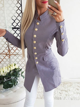Picture of Women's Blazer Single Breasted Stand Collar Solid Color Fashion Coat - Size:M