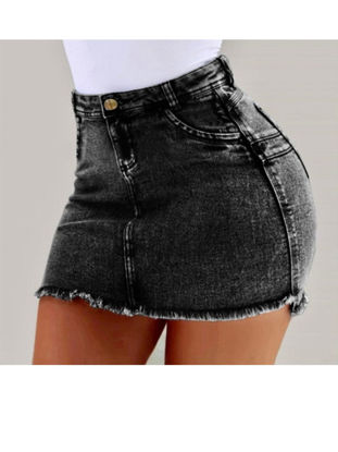 Picture of Women's Bodycon Skirt Slim Short Solid Color Frayed Skirt - Size:L