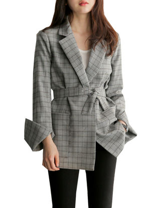 Picture of Women's Blazer Long Sleeve Notched Collar Plaid Pattern Outwear-Size: L