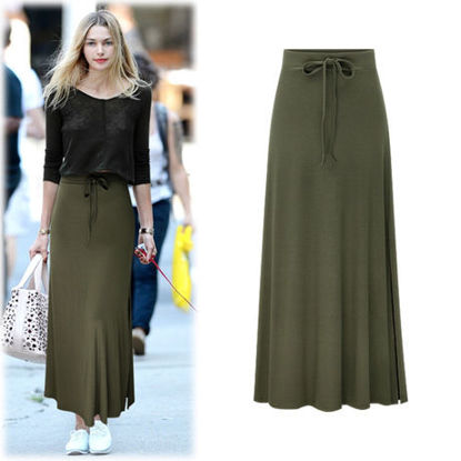 Picture of Women's Bodycon Skirt Solid Color Split Cut High Waist Skirt-Size: 6XL