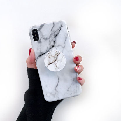 Picture of iPhone XS/XS Max/XR/X/8/8 Plus/7/7 Plus/6/6S/6 Plus/6S Plus Phone Cover Marble Pattern With Airbag Holder Phone Case-Size: iphone7