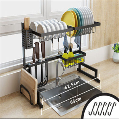 Picture of Kitchen Storage Rack Double Layers Bowl Plate Drain Shelf-Size: One Size