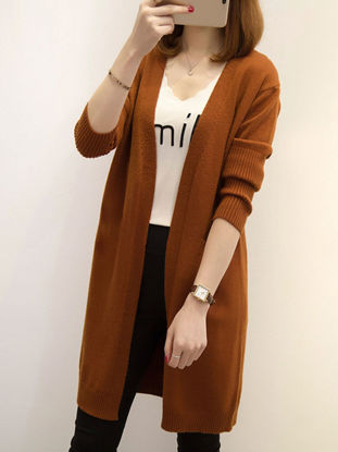 Picture of Women's Cardigan Open Front Long Sleeve Solid Color Knitwear