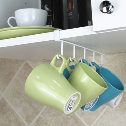 Picture of 1 Piece Wall Rack Punch Free Home Kitchen Cup Kitchenware Storage Rack-Size: One Size