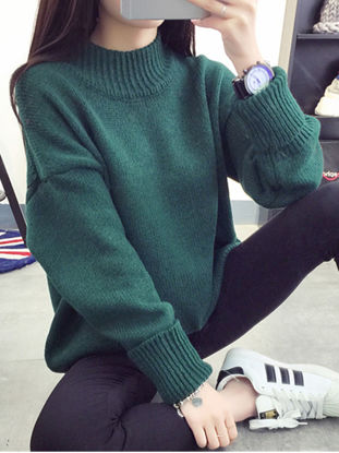 Picture of Women's Pullover Long Sleeve Turtle Neck Solid Color Casual Knitwear-Size: Free