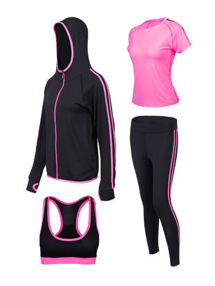Picture of XLGS 4 Pcs Women's Sports Set Breathable Cozy Clothing-Size: M