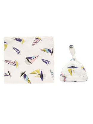 Picture of Baby's 2 Pcs Set Simple Print Pattern Comfy Breathable Swaddling Hat SetSize: One Size